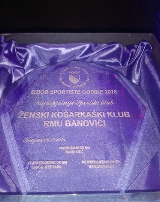 IZBOR SPORTISTE GODINE: ŽKK RMU Banovići najbolji klub u 2018. u BiH